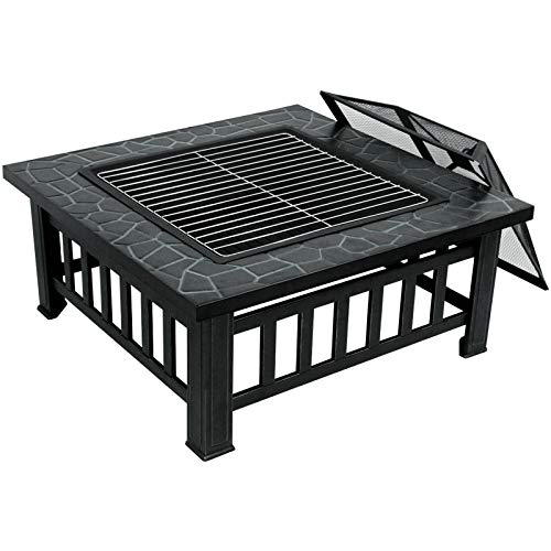 ZENY Outdoor 32 Metal Fire Pits BBQ Square Table Backyard Patio Garden Stove Wood Burning Fireplace with Spark Screen CoverPokerCoverGrill 0 4