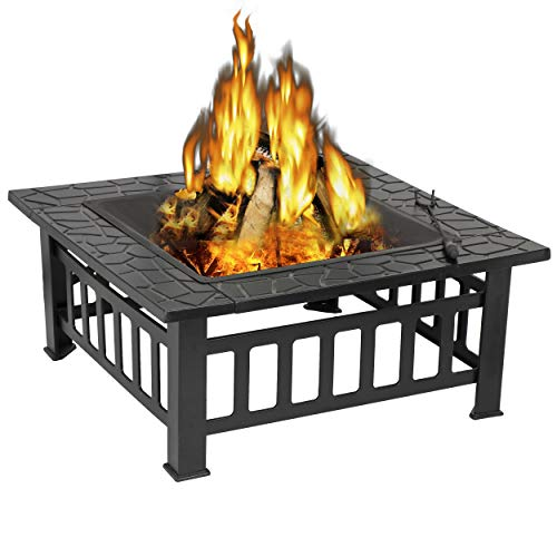 ZENY Outdoor 32 Metal Fire Pits BBQ Square Table Backyard Patio Garden Stove Wood Burning Fireplace with Spark Screen CoverPokerCoverGrill 0