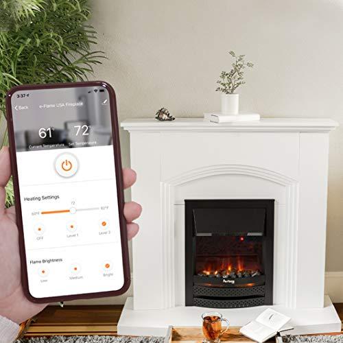 e Flame USA Abbotsford Electric Fireplace Stove Mantel Surround 45 inch Elegant White Gloss Finish 0 1