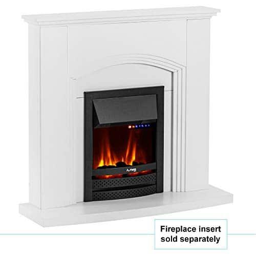e Flame USA Abbotsford Electric Fireplace Stove Mantel Surround 45 inch Elegant White Gloss Finish 0