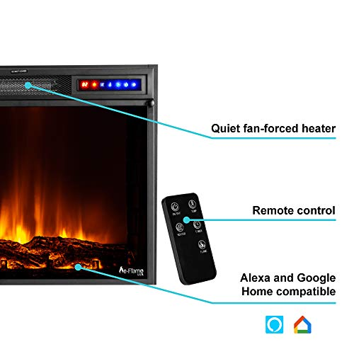 e Flame USA Breckenridge 25x20 LED Electric Fireplace Stove Insert with Remote 3D Logs and Fire Black 0 0