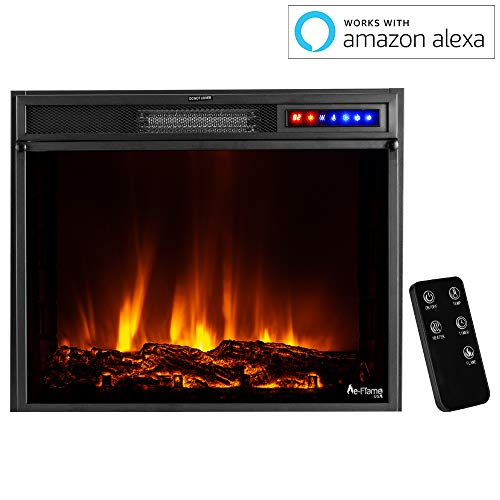 e Flame USA Breckenridge 25x20 LED Electric Fireplace Stove Insert with Remote 3D Logs and Fire Black 0 3