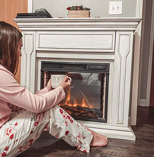 e Flame USA Breckenridge 25x20 LED Electric Fireplace Stove Insert with Remote 3D Logs and Fire Black 0 4