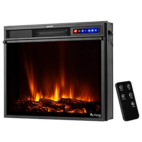e Flame USA Breckenridge 25x20 LED Electric Fireplace Stove Insert with Remote 3D Logs and Fire Black 0