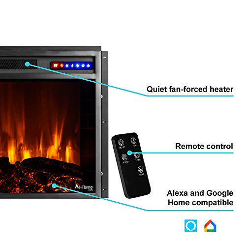 e Flame USA Jackson 25x21 LED Electric Fireplace Stove Insert with Remote 3D Logs and Fire Black 0 0