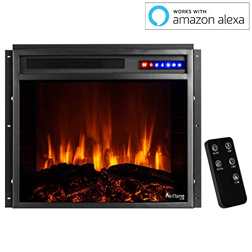 e Flame USA Jackson 25x21 LED Electric Fireplace Stove Insert with Remote 3D Logs and Fire Black 0 1