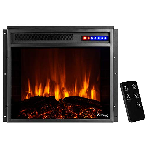 e Flame USA Jackson 25x21 LED Electric Fireplace Stove Insert with Remote 3D Logs and Fire Black 0