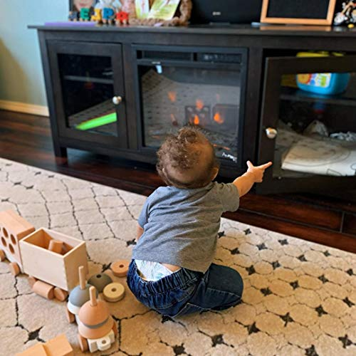 e Flame USA Montana Electric Fireplace Stove TV Stand 58x24 Dark Oak Finish 0 2
