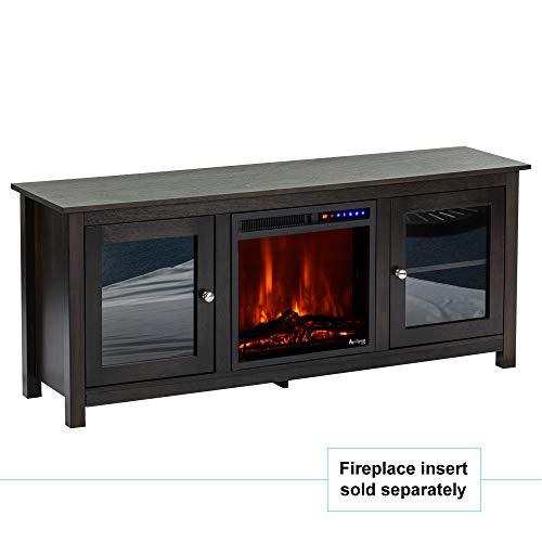 e Flame USA Montana Electric Fireplace Stove TV Stand 58x24 Dark Oak Finish 0