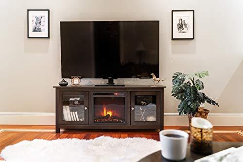 e Flame USA Montana Electric Fireplace Stove TV Stand 58x24 Walnut Espresso Finish 0 3
