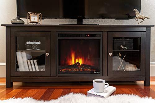 e Flame USA Montana Electric Fireplace Stove TV Stand 58x24 Walnut Espresso Finish 0 4