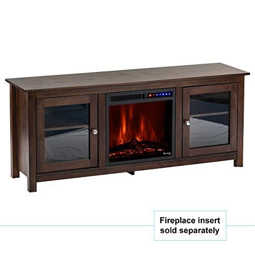 e Flame USA Montana Electric Fireplace Stove TV Stand 58x24 Walnut Espresso Finish 0