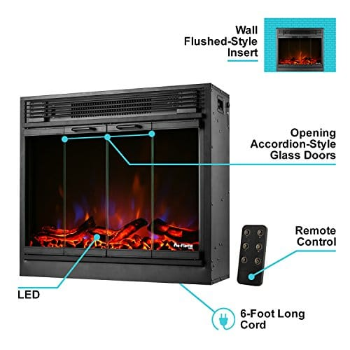 e Flame USA Montreal 26 inch LED Electric Fireplace Stove Insert with Remote 3 D Log and Fire Effect 0 0