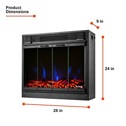 e Flame USA Montreal 26 inch LED Electric Fireplace Stove Insert with Remote 3 D Log and Fire Effect 0 1