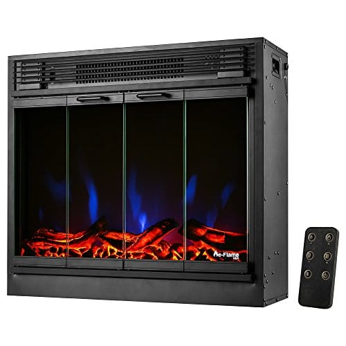 e Flame USA Montreal 26 inch LED Electric Fireplace Stove Insert with Remote 3 D Log and Fire Effect 0 2