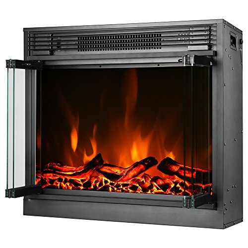 e Flame USA Montreal 26 inch LED Electric Fireplace Stove Insert with Remote 3 D Log and Fire Effect 0 3