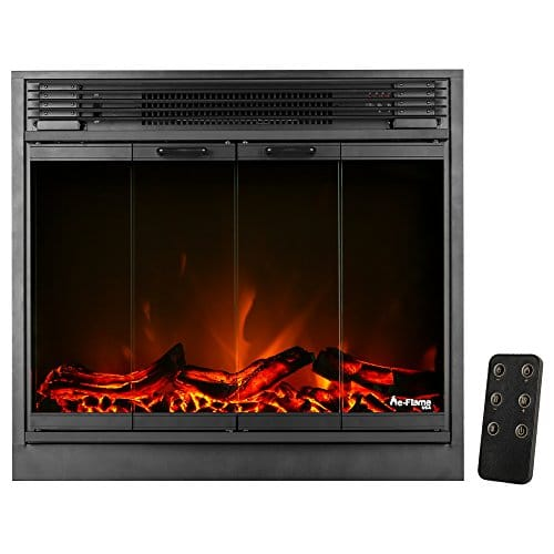 e Flame USA Montreal 26 inch LED Electric Fireplace Stove Insert with Remote 3 D Log and Fire Effect 0