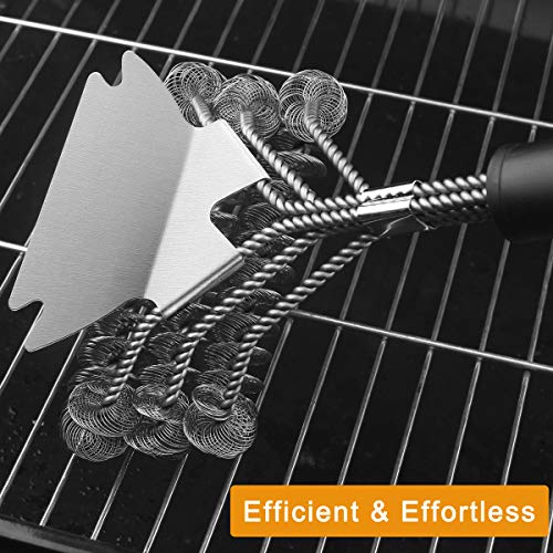 grilljoy 4PC Heavy Duty Safe BBQ Cleaner Bristle Free Wire Bristle Grill Brush Head with Scraper in Carrying Bag Exclusive Barbecue Grill Brushes Set for All Grates Universal Grill Tools Set 0 4