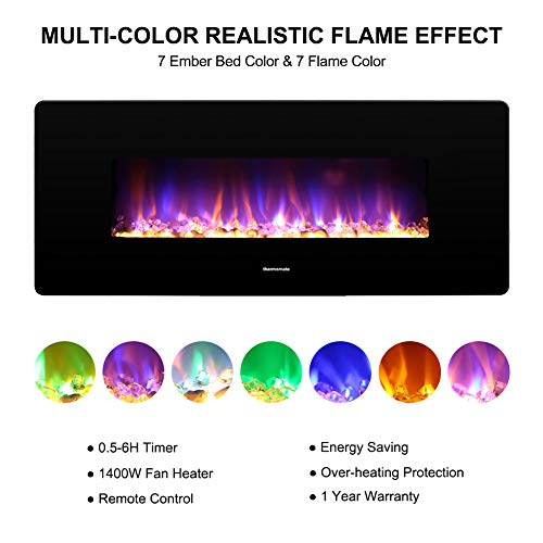 thermomate 36 Inch Electric Fireplace with Thermostat 1400W Electric Heater with Remote Control and Timer CSA Certified Black 0 0
