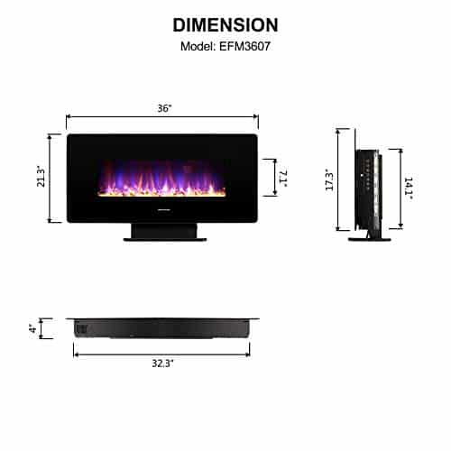 thermomate 36 Inch Electric Fireplace with Thermostat 1400W Electric Heater with Remote Control and Timer CSA Certified Black 0 5
